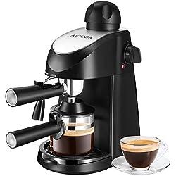Aicook Cafetiere Expresso, Machine à Café 800W, Machine à Expresso et Machine à Cappuccino 4 Tasses, Evaporateur de Lait, 5 Bar, Noir