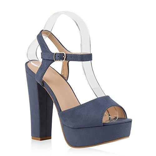 Damen Plateau Sandaletten | Peeptoes Party Schuhe | Pumps Blockabsatz High Heels |Satin Samt Strass Fransen Blau Velours Schnalle