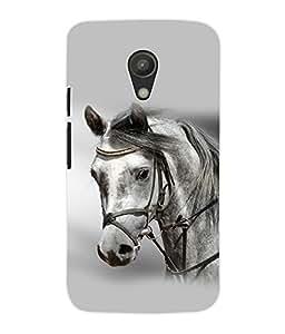 Fuson 3D Printed White Horse Designer Back Case Cover for Motorola Moto G2 - D797