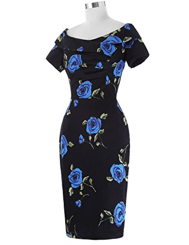 Belle Poque Damen Vintage Rockabilly Kleid 1950er Jahre Bodycon Pencil Kleid BP117-2