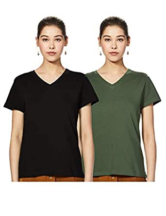 Amazon Brand - Symbol Women's Solid Regular Fit Half Sleeve cotton T-Shirt