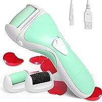 Hornhautentferner Elektrisch USB Wiederaufladbar, Hornhaut Entfernung mit Rolle, Wasserdicht Pediküre Fusspflege Instrumente mit Standard-Grobwalze & Extra-Grobwalze