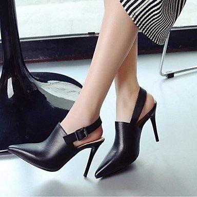 pwne Donna Comfort Tacchi Pu Molla Casual Stiletto Heel Bianco Nero 4A-4 3/4In US8 / EU39 / UK6 / CN39