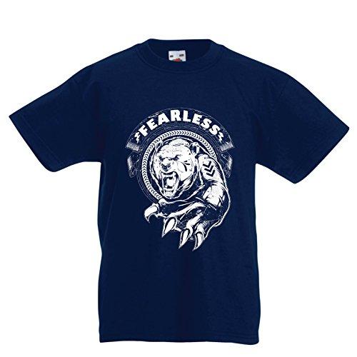 lepni.me Kinder Jungen/Mädchen T-Shirt Furchtlos - Motivation, Unternehmer, Workout, Fitness-Zitate (7-8 years Dunkelblau Mehrfarben)