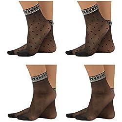 CALZITALY – PACK 4 PARES Calcetines de Mujer, Mini Medias Negras y con Lunares | Negro | Talla Unica | 20 DEN | MADE IN ITALY | (Talla Unica, Negro)