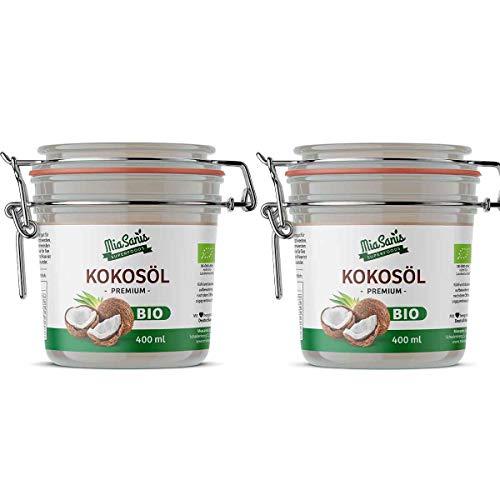 Miasanis BIO Kokosöl 800ml (2 x 400ml), kaltgepresst im Bügelglas, Kokosfett frisch gepresst aus eigener Ölmühle