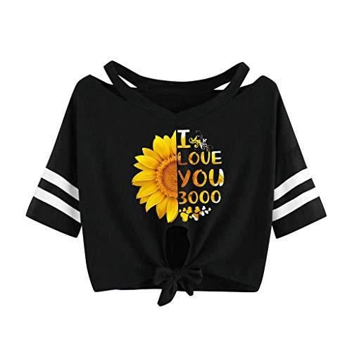 I Love You 3000 Times Drucken Bluse Sommer Kurzarm Locker Lässig Top mit V-Ausschnitt Bogen-Knoten-Verband Oberteile Shirt ()
