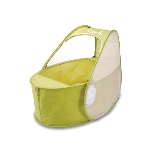 Koo-di 80 x 50 x 58 cm Pop Up Travel Bassinette (Lime/ Lemon)  A comfortable bassinette ideal for use at home and on holidays or weekends away A polycotton travel bassinette Ideal up to 6 months or until baby can sit unaided 2