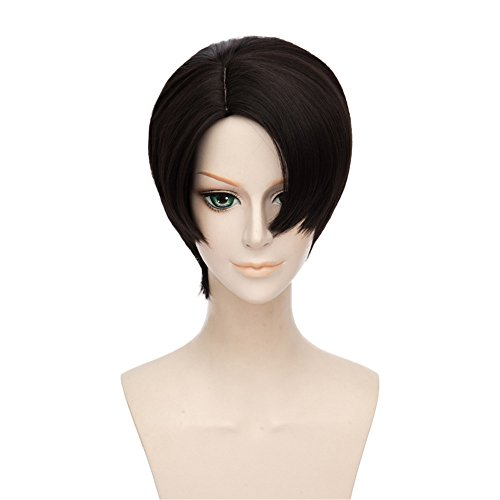 LanTing Cosplay Perücke 30cm Perücke Corta Black Wigs Heat Resistant Synthetic Cosplay Full Wig for Men Party Fashion