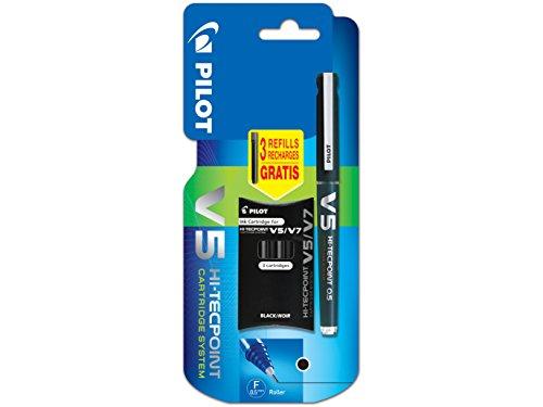 Pilot V5sistema di cartucce inchiostro liquido Rollerball penna singolo punta, con 3ricariche, colore: nero V5 Hi Tech Black