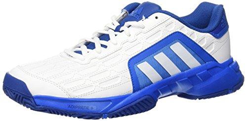 adidas Herren Barricade Court 2 Tennisschuhe, Blanco / Azul (Ftwbla / Ftwbla / Azuimp), 44 EU