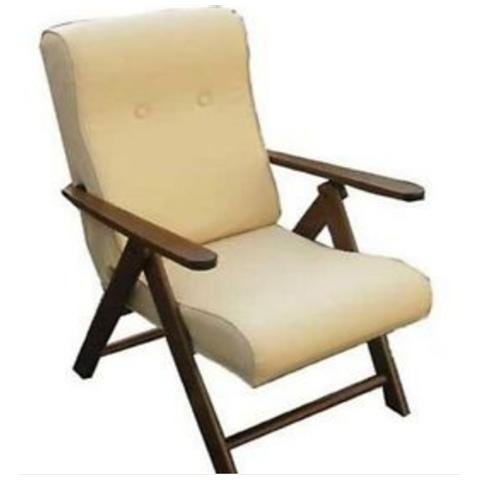 Poltrona molisana ecopelle reclinabile relax 4 posizioni sedia divano sofà cuscino imbottito (cream)