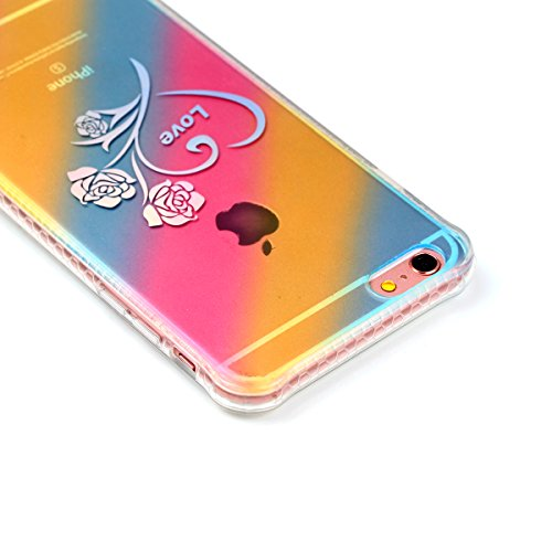 Apple iPhone 6/6S 4.7 Coque, Voguecase TPU avec Absorption de Choc, Etui Silicone Souple Transparent, Légère / Ajustement Parfait Coque Shell Housse Cover pour Apple iPhone 6/6S 4.7 (Placage colorés-L Placage colorés-Love rose 01