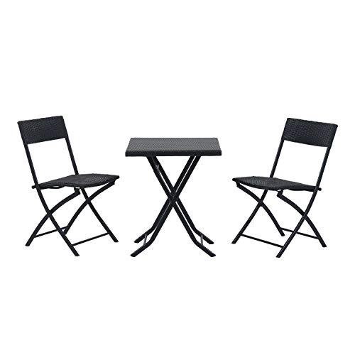 miozzi Set Tavolino e 2 Sedie Pieghevoli da Giardino in Rattan Sintetico Nero