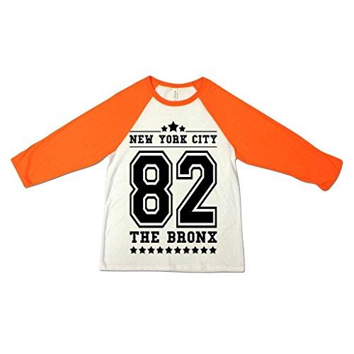 Herren New York City NYC 82 Staten Island American Football Baseball College Tri-Blend Sportliches 3/4 Arm T-Shirt Von Bella+Canvas Weiß & Neon Orange