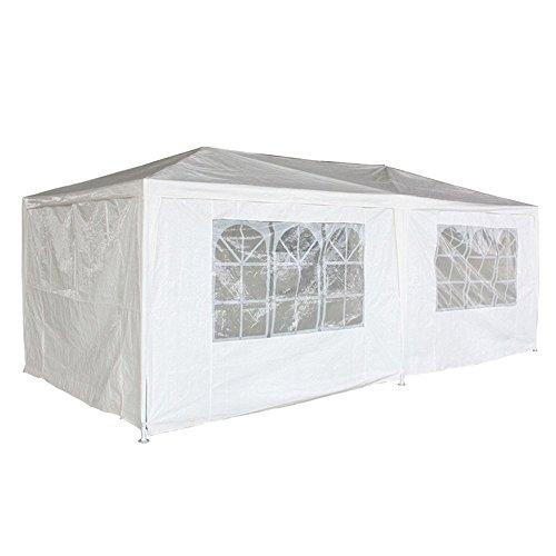 Preisvergleich Produktbild MCTECH® 6 x 3 m Falt Pavillon Zelt Gartenzelt Partyzelt Gartenpavillon inklusive 6 Seitenwände, 4 x Fenster, 2 x Tür mit Reisverschluss, Wasserdicht PE Plane in Weiß (6 x 3 m mit 6 Seitenwände, Weiß)