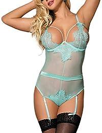 4b0b34257a4 MarysGift Women Ladies Suspender Belt Teddy Bodysuit Sexy Lingerie Sets  Leotard Teddies Pole Dance Plus Size