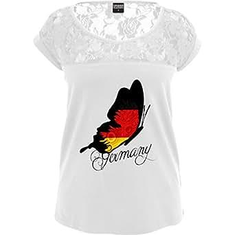 TB714 Sexy Damen Frauen Mädchen Spitzenshirt mit großem Rundhalsausschnitt und Spitze, Ladies Girls Top Laces Tee – EM 2016 – Frankreich – Germany Schmetterling