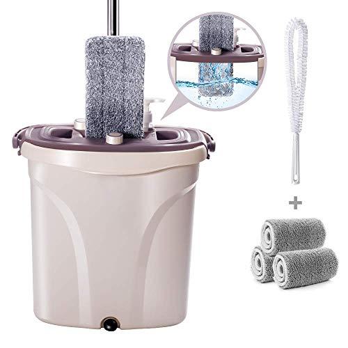 Masthome Flach-Mopp Eimer Set mit 3 Ersatzköpfe,2 in 1 Eimer Wischmop Set,für Nassen und Trocken,Mikrofaser Flachmopp,eine Reinigungsbürste als Geschenk