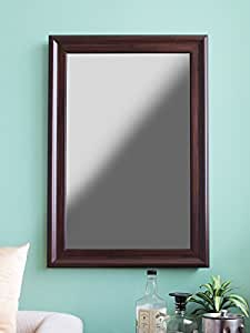 999Store Fiber Framed Large Decorative Wall Mirror Brown (22X32 Inches)