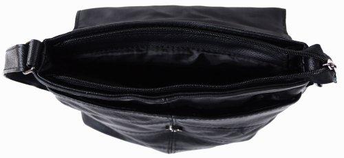 Damen Leder-Umhängetasche/Schultertasche, Schwarz, Braun, Dunkelbraun) Schwarz