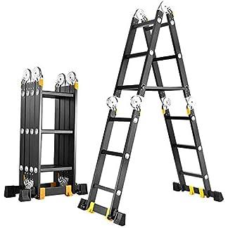 MJK Escalera, escalera telescópica Patas antideslizantes multiuso escalera de aluminio con barra estabilizadora – Andamios para el hogar Multi Propósito telescópica escalera