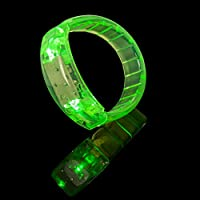 UltraByEasyPeasyStore Green LED Flashing Bracelets Glowing Light Up Adults Childrens Kids Glow Party Bag Men Women Raves Concert Dances Festival Wristband Walking Safety