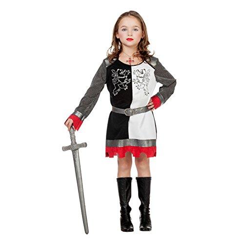 Mädchen Ritter Kostüm - NEU Kinder-Kostüm Ritterin schwarz-weiß