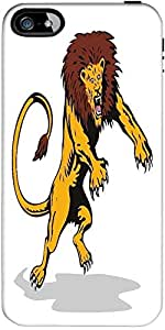 Snoogg lion big cat attacking retro Hard Back Case Cover Shield ForApple Iphone 5 / 5s