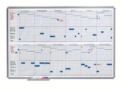 Jahresplaner SILVERLINE - im Halbjahresformat BxH 900 x 600 mm - Infotafel Magnettafel Magnetwand Planungstafel Präsentationstafel Schreibtafel Tafel Wandtafel Whiteboard