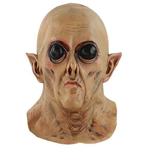 LIHAEI Latex Maske Spirituelle Maske Halloween Horror Makeup Latex Kopfbedeckung Cosplay Maske Heikles Gesicht Unheimlich Unheimlich Maske (Schwarze Kind Kondom Kostüm)