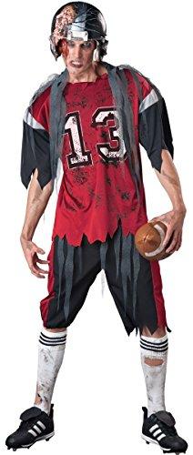 Herren Dead Zombie American Football Player + Helm Sport Halloween Kostüm, (Sport Player Kostüme)