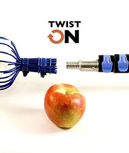 EVERSPROUT 5,8m m Obstpflücker (7,6 m Reichweite)   Vormontiert, einfach zu befestigender, drehbarer Korb   Leichter Aluminium-Verlängerungsstab   + Gratis Fruchttragetasche