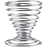 BianchiPatricia Stainless Steel Spiral Spring Wire Tray Boiled Egg Cups Holder Stand Storage