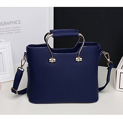 BYD - Pell Donna Handbag borsa a Spalla Borse a mano Tote Bag Shoulder Bag con maniglia in metallo Blu