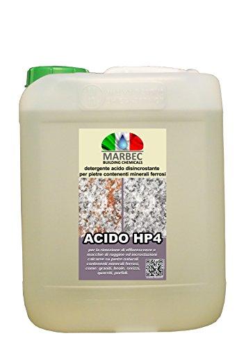 MARBEC - ACIDO HP4 5LT | Detergente disincrostante acido specifico per materiali contenenti minerali ferrosi come il granito, la quarzite, il porfido