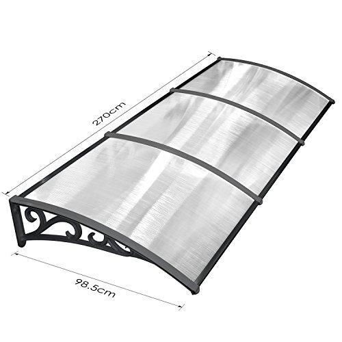 41SnngEy%2BGL - MVPOWER Marquesina para Puertas y Ventanas Tejadillo de Protección Toldo Cubierta de Policarbonato en Jardín al Aire Libre Dosel de Techo (Color Negro, 270*98.5cm)