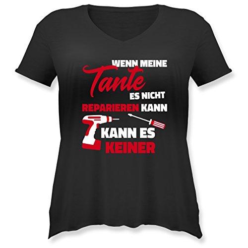 Schwester & Tante - Wenn Meine Tante ES Nicht Reparieren Kann - Weit Geschnittenes Damen Shirt in Großen Größen mit V-Ausschnitt Schwarz