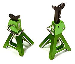 Integy Rc Hobby C26409 Green Realistic Model 6 Ton Jack Stands (2) For 1/10, 1/8 Scale & Rock Crawler