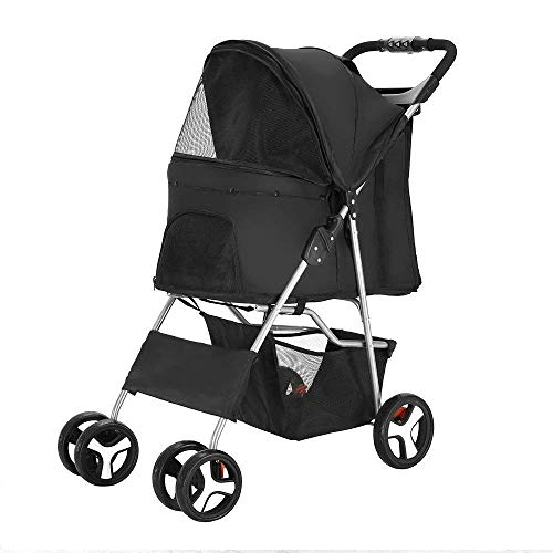 hunde - welpen katze pet travel kinderwagen kinderwagen kinderwagen jogger buggy schwenkbare räder (schwarz) -