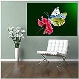 Kunstdruck auf Leinwand, Malerei auf Leinwand, Schmetterling mit Blumen, dekorative Bilder an der Wand für Wohnzimmer, 50 x 75 cm, ohne Rahmen
