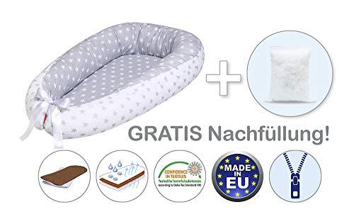 EINFÜHRUNGSPREIS 34,9 EUR STATT 45,9 EUR Scamp Premium Babynest für Babys, Säuglinge, Reisebett, antiallergisch, 100% Baumwolle, Öko-Tex 100 Standard, mit Kokosmatratze (Mouse)