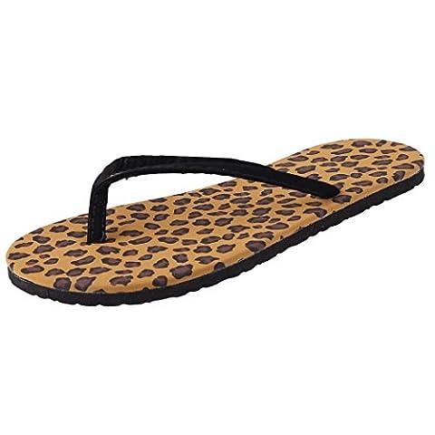 Minetom Tongs Femme Compensées Plage Eté Chaussure Flip Flops Talon Tongs Bout Ouvert Sandales Chaussons EUROPE Taille ( Léopard EU 38 )