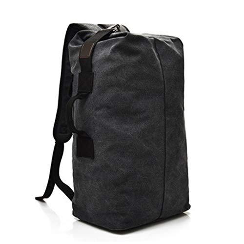 Hendtor grande borsa sportiva all'aperto tattica militare superiore della tela di canapa di campeggio che fa un'escursione lo zaino di viaggio impermeabile degli uomini black small