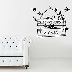 """LifeUp Disegn Originale- Adesivo Murale Soggiorno Disegno Natura Uccelli con Frase """" Benvenuto a Casa """" Molto Dolce !"""