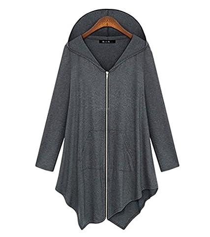 ZKOO Damen Langer Cardigan Mit Kapuze Asymmetrischer Saum Einfarbig Cardigan Reißverschlüssen Lange Trenchcoat Mantel