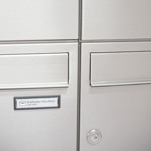 2er Edelstahl Standbriefkasten BASIC 810-SP mit Klingel – Namensschilder – GIRA Kamera & Einbaulautsprecher - 7