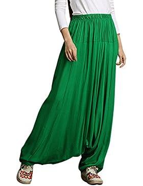 Aivtalk - Pantalones Anchos Holgados Arabe Mujeres Unisex Palazzo Bombachos Flojos Harem de Lino Suave para Mujeres...