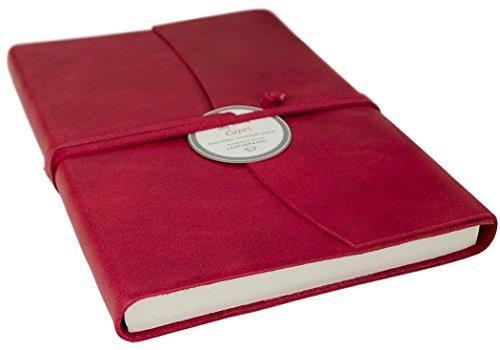 Capri Notizbuch handgefertigt mit Italienisches Ledereinband Ziegelrot Large, blanko Seiten (21cm x...
