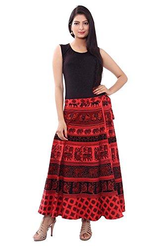 Modern Kart Women's Cotton Printed Wrap Around Skirt(MKSKT063, Black, Free Size)